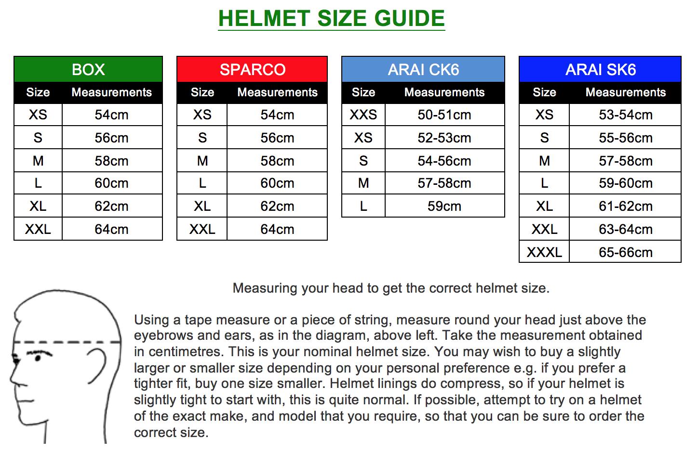 Kart Helmet Size Charts Mk Racewear