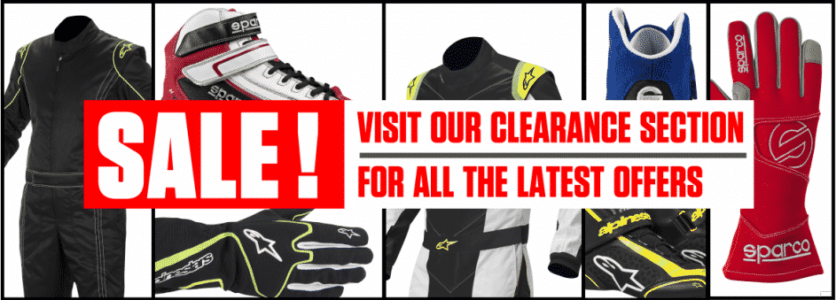 Banner showing clearance sale items at mk racewear